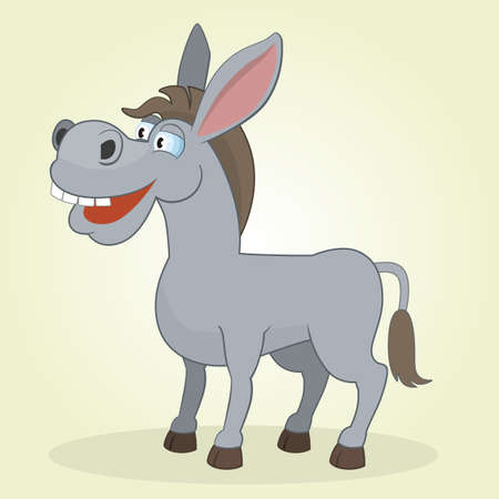 Vector Illustration of Cartoon Donkey Vector