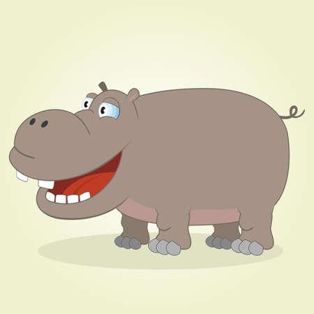 cartoon hippo: Vector Illustration of Cartoon Hippopotamus