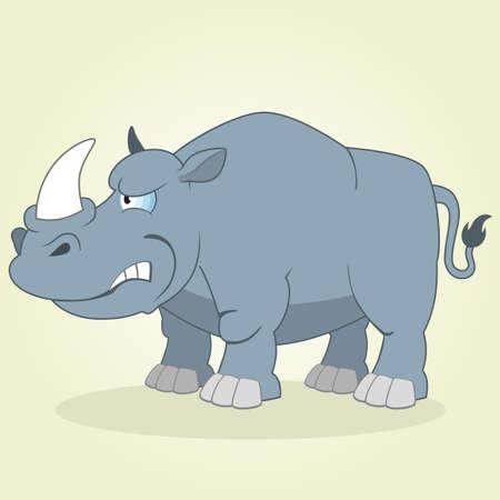 Vector Illustration of Cartoon Rhino Illustration