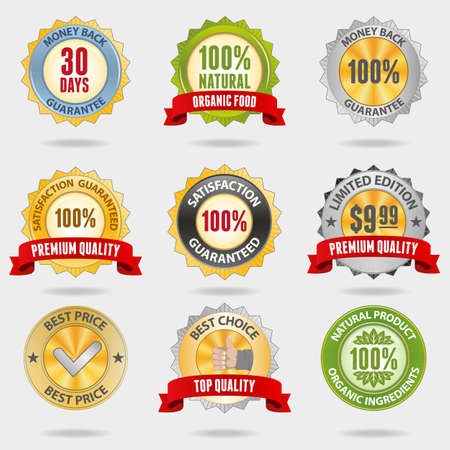 Set of different shiny badges Vector
