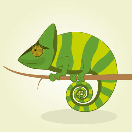 Vector Illustration of Cartoon Chameleon Vector