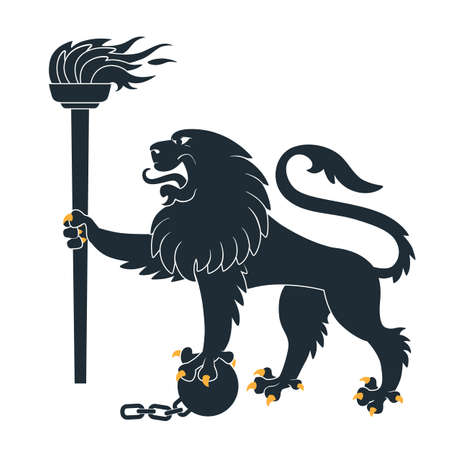 Black heraldic lion with torch and shackles Vector