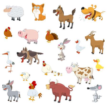 白い背景の上の農場の動物セットします。  イラスト・ベクター素材