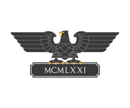 nameplate: Black heraldic eagle with nameplate