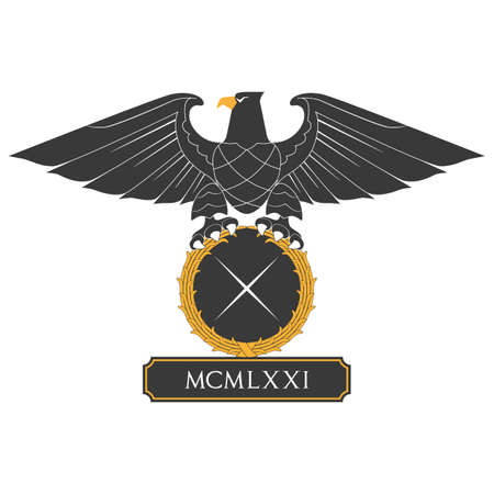 nameplate: Black heraldic eagle with shield and nameplate