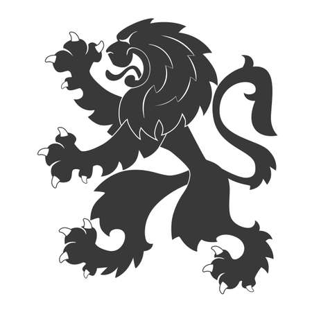 heraldic symbols: Standing Black Heraldic Lion