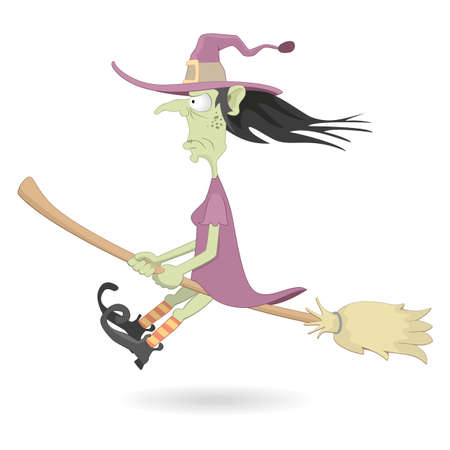 witch hat: Illustration of halloween witch flying on the broom Illustration