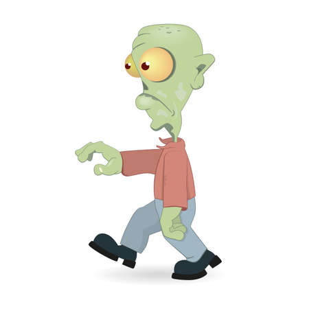 cursed: Illustration of Cartoon zombie isolated on white background