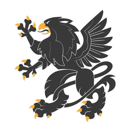 Standing Black Heraldic Griffin Vector