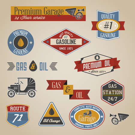 Vintage retro gasoline signs and labels collection Illustration