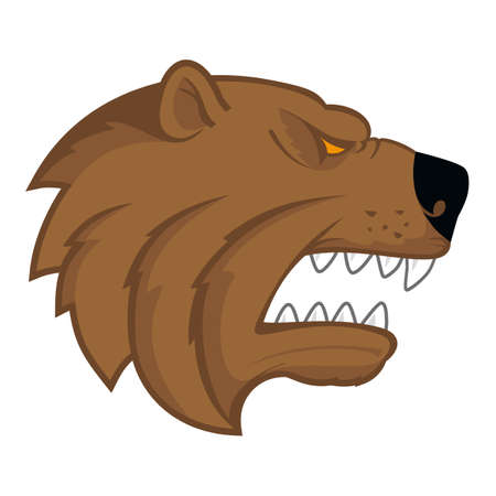 growling: Bear head on white background