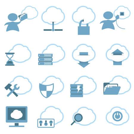 Cloud Hosting Icons set. Vector Illustration Vector