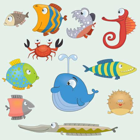 peces caricatura: Conjunto de pescado de dibujos animados