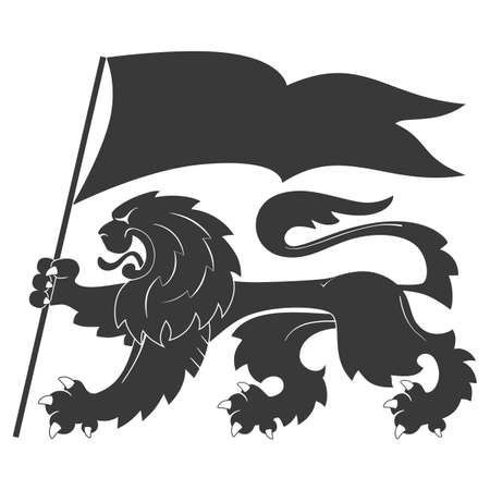 Black heraldic lion with flag