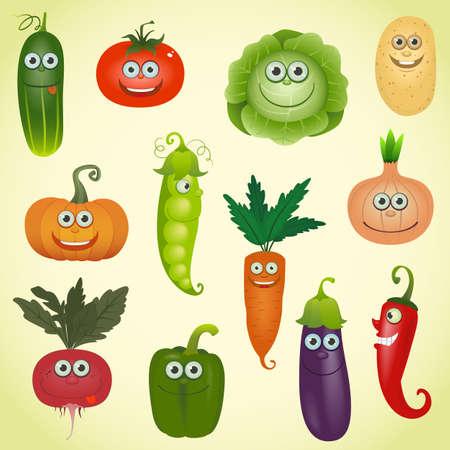 Funny various cartoon vegetables set Vetores