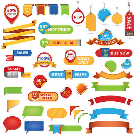 sold out: Big Set of Sale Stickers, Labels And Ribbons  Isolated On White Background Illustration