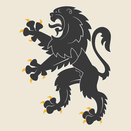 rampant: Black rampant heraldic lion.