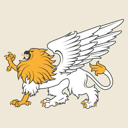 White heraldic griffin with golden mane Vector