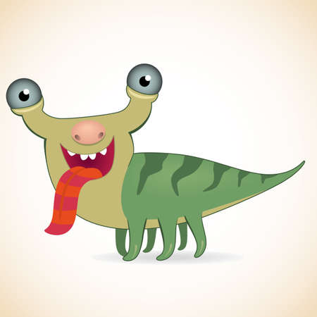 freak: Cartoon funny put out ones tongue monster Illustration