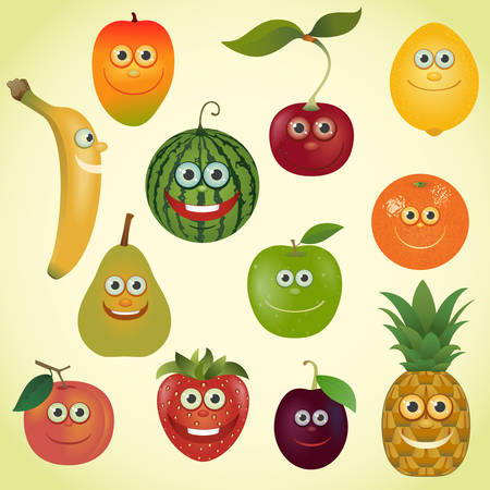 Funny various cartoon fruits set Vector