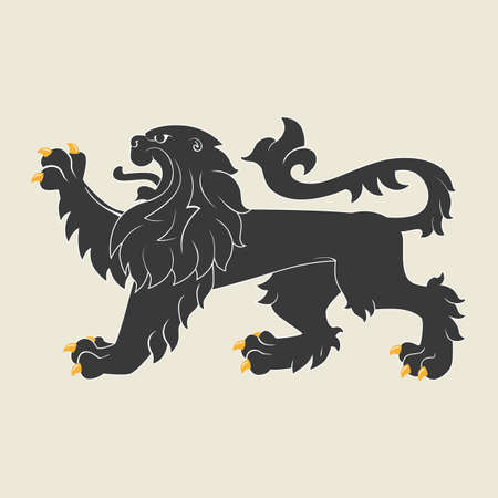 rampant: Black heraldic lion.  Illustration