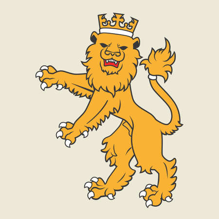 armorial: Golden regal  heraldic lion with crown Illustration