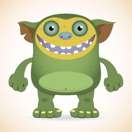 mutant: Cartoon funny smiling green monster Illustration
