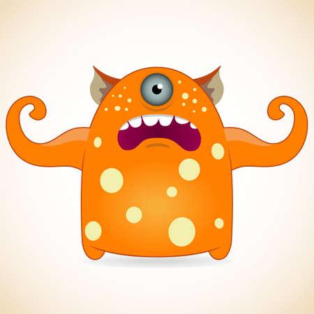 mutant: Cartoon funny one-eyed orange monster