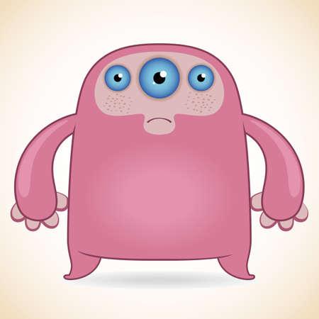 mutant: Cartoon funny three-eyed pink monster Illustration