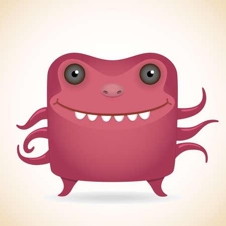 mutant: Cartoon funny many-armed red monster Illustration