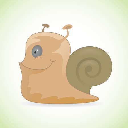 creeping: Illustration of cartoon happy smiling snail