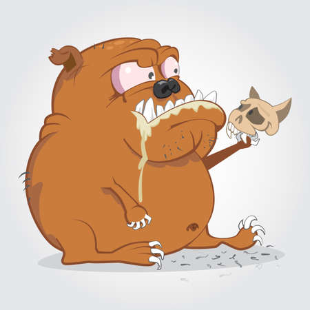 beware of the dog: Cartoon illustration of angry bulldog holding a cat skull