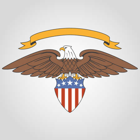 American eagle holding national flag shield and ribbon Vectores