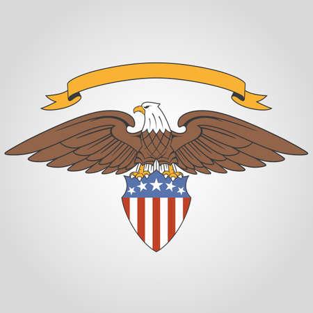 Amerikanischer Adler hält nationale Flagge Schild und Band