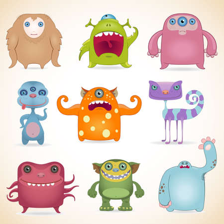 ogre: Cartoon cute monsters set.