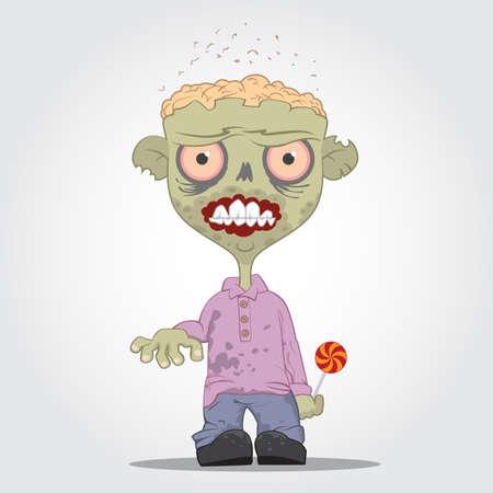 Cartoon zombie boy with lollipop.  Vector