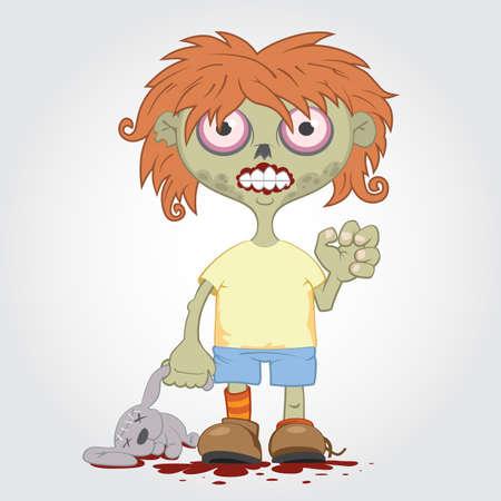 Little zombie girl with a rabbit. Ilustração
