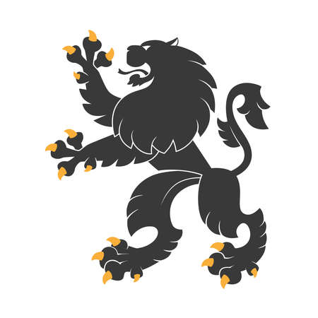 armorial: Standing black  heraldic lion.