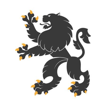 Standing black  heraldic lion.