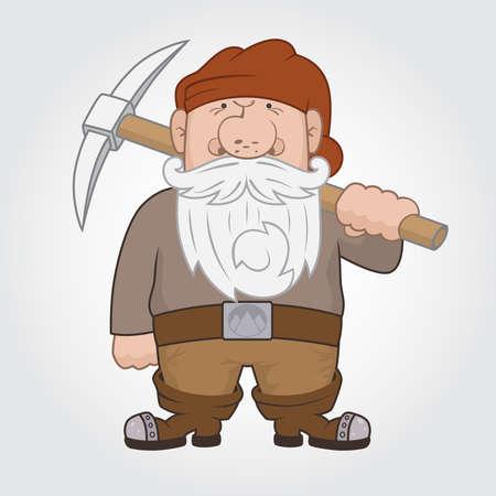 cartoon dwarf: Funny cartoon Dwarf with pick.  Illustration