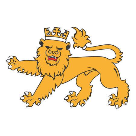 regal: Golden regal  heraldic lion with crown Illustration