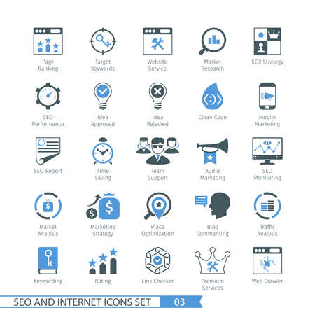 SEO internet and development icon set 03