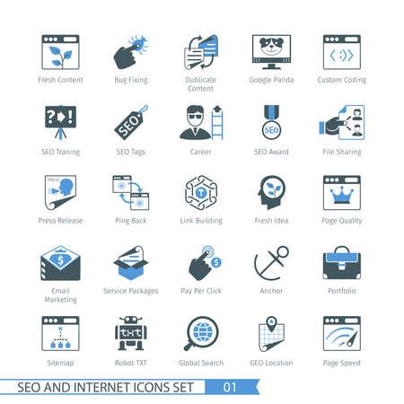 SEO internet en ontwikkeling icon set 01