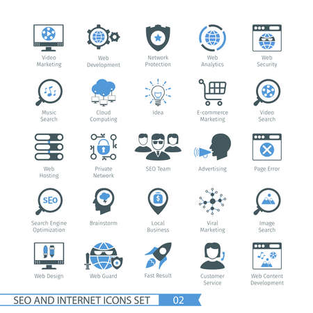 internet icons: SEO internet and development icon set 02 Illustration