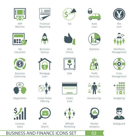 Business and FIinance Icons Set 03 Vettoriali