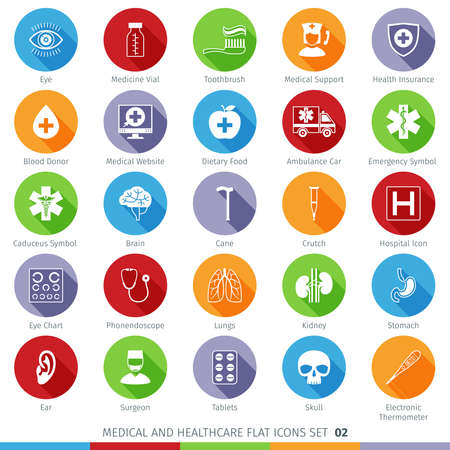 phonendoscope: Medical and Health Care Long Shadow Flat Icons Set 02