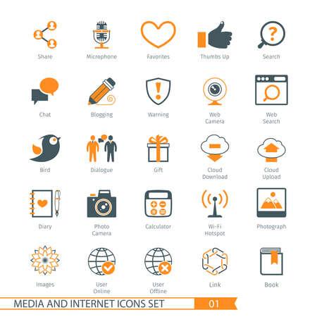 01: Social Media And Network Icons Set 01 Illustration