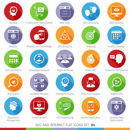 SEO Internet En Development Long Shadow Flat Icon Set 04 Stock Illustratie