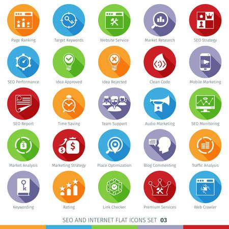 SEO のインターネットと開発の長い影フラット アイコン セット 03  イラスト・ベクター素材