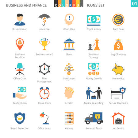 01: Business and FIinance Colorful Icons Set 01